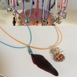 Gypsy Feather & Globe Bead Necklace Set